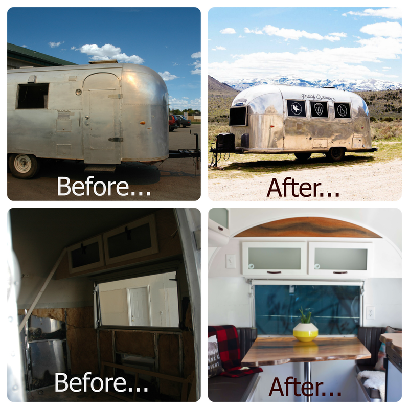 Before and after pictures of Airstream Restoration